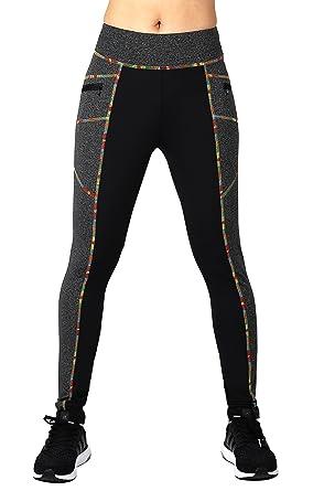 Neonysweets - Pantalones para mujer, para hacer fitness, correr, caminar o hacer yoga, Mujer, color Black/Dark Gray (Colorful Stitching), tamaño S