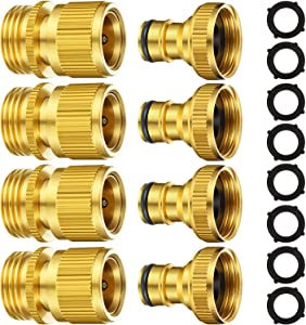 Garden Hose Quick Connect Fittings Solid Brass Quick Connector 3/4 Inch GHT Garden Water Hose Connectors with Extra Rubber Washers, Male (IT) and Female (OT) (4 Sets)