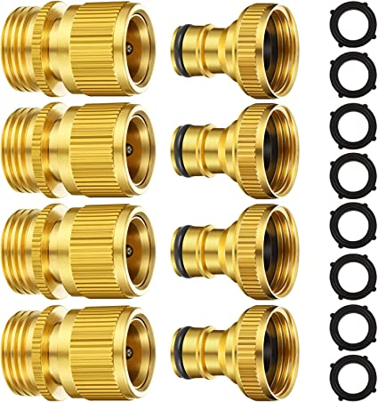 Set of Brass Male and Female 3//4 Inch Garden Hose End and Quick Connector Set