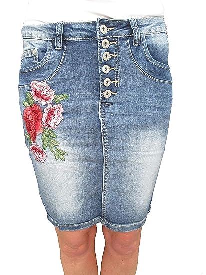 4adb26c64 Skinny Jeans Stretch Jupe Boutons avec Boutons Fleurs Fleurs Brodé ...