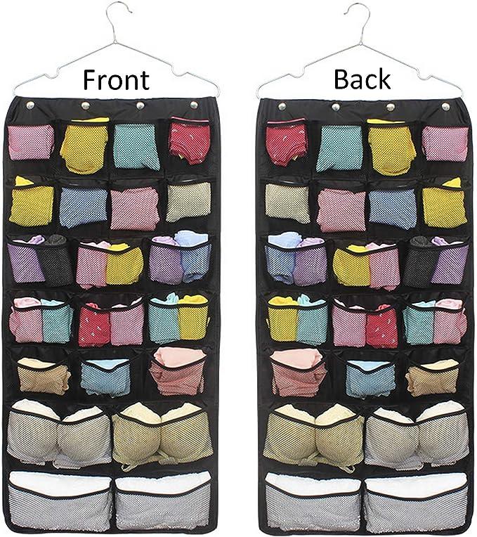 corbatas Ba30DEllylelly Organizador colgante de armario de 16 rejillas de gran capacidad calcetines bolsa de almacenamiento percha para ropa ropa interior pr/áctica sujetadores
