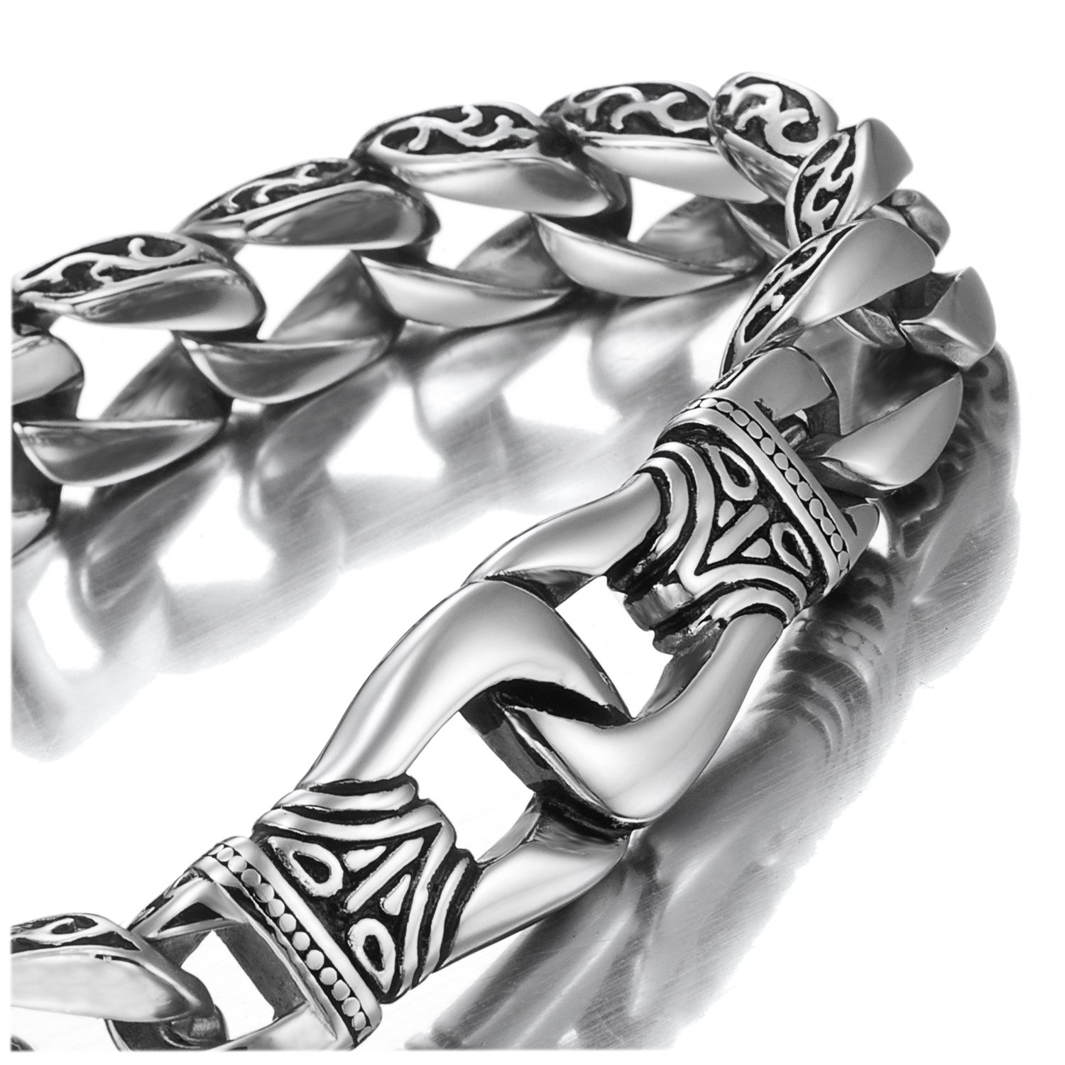Amazing Stainless Steel Men's link Bracelet Silver Black 9 Inch AC1103