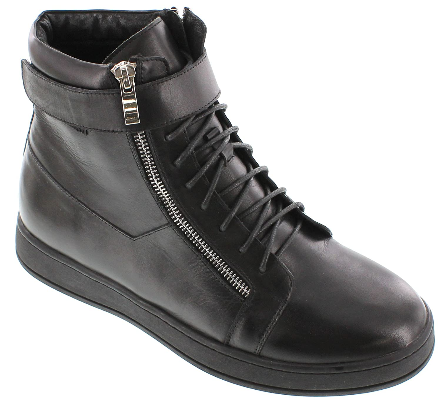 CALTO - G10721-3.2 Inches Taller - Height Increasing Elevator Shoes (Black Leather Ankle-top Boots)