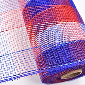 L/V 4Pcs Mesh Ribbon, Ribbon for Wreaths, Wire Mesh Roll Metal Foil Mesh Ribbon Garland Party Wrap Birthdays, Wrap, Crafts Blue White Ribbon for Garlands, Fans and Decorations