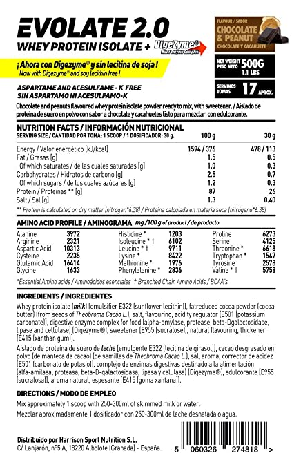 Whey Protein Isolate (WPI) de HSN Sports - Aislado de Proteína de Suero Evolate 2.0 - Con Digezyme, Rica en BCAAs y Glutamina, Apto Vegetariano, Sin ...