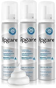 Men's Rogaine Extra Strength 5% Minoxidil Topical Aerosol Hair Regrowth Treatment Foam 3 Month Supply (each can 2.11 oz / 60 g) 1 set