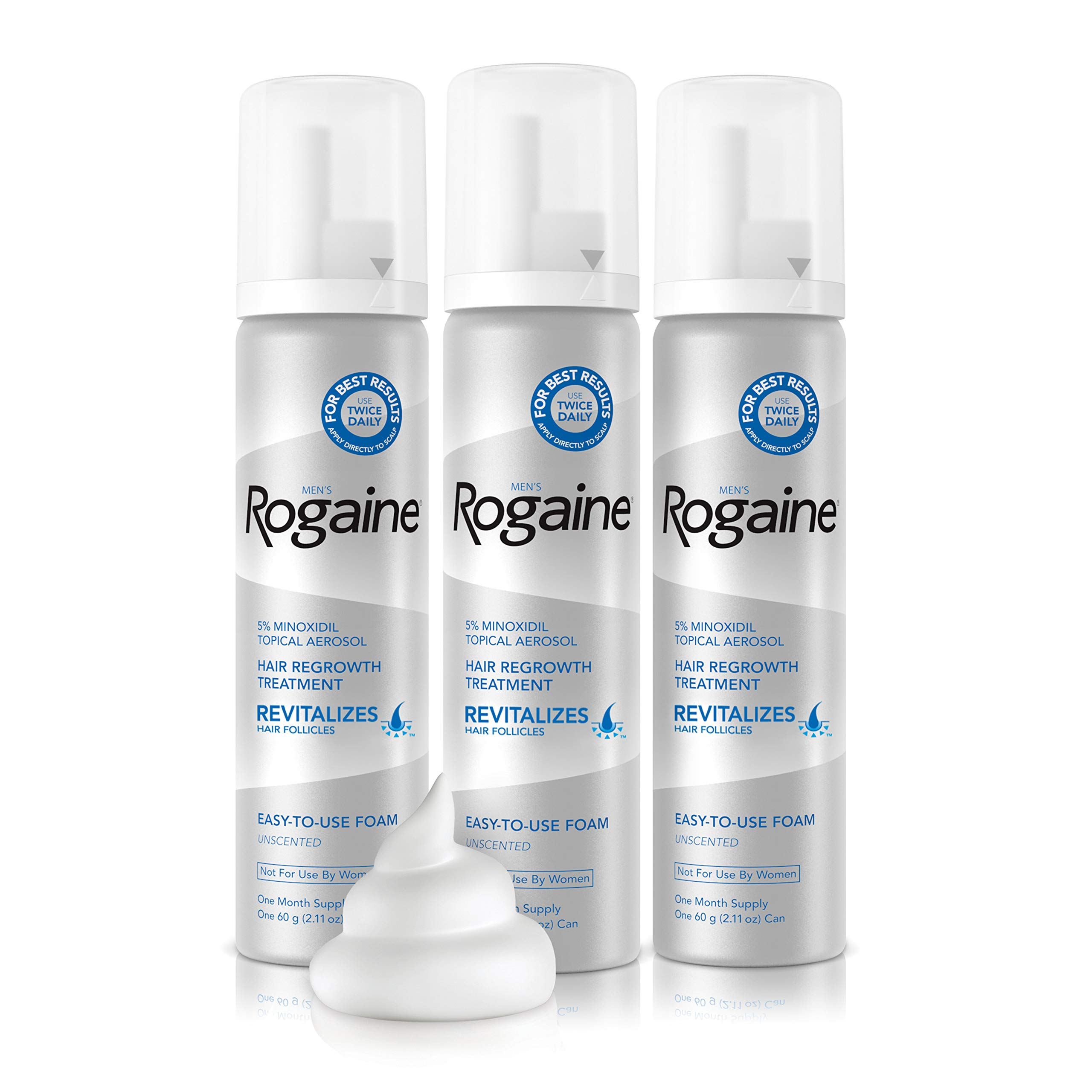 Men's Rogaine 5% Minoxidil Foam for Hair Loss and Hair Regrowth, Topical Treatment for Thinning Hair, 3-Month Supply
