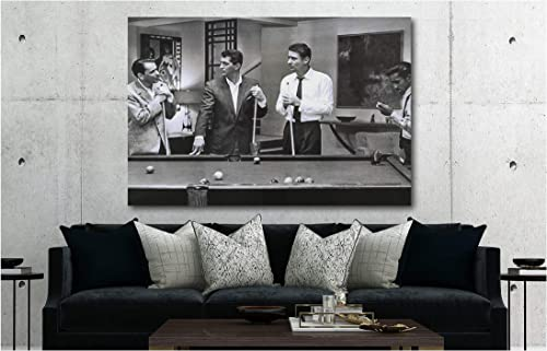 Rat Pack Playing Pool Famous Actors/Singers Canvas Wall Art Print 30x45inch Framed