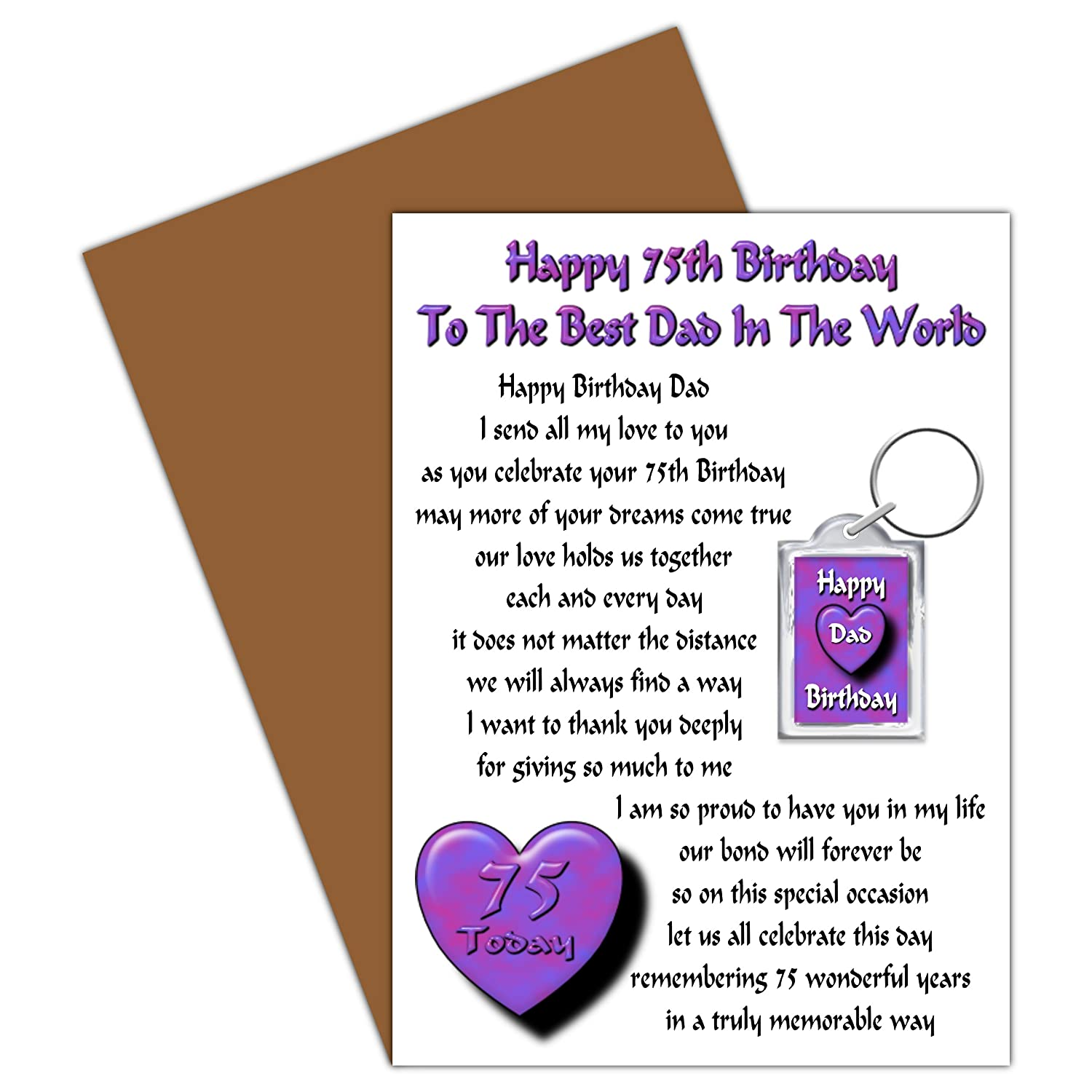 Dad 75th Happy Birthday Card With Removable Keyring Gift 75