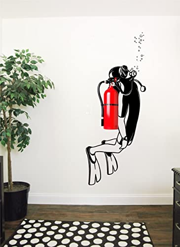 Scuba Diving Handmade Wall Decal   Nautical Office Decor Idea   Scuba Fire  Extinguisher Decal