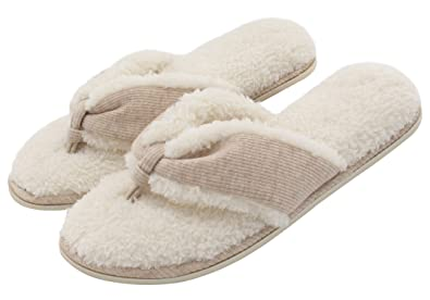 3156007cdcbfb4 Women s Comfort French Terry Plush Lining Memory Foam Spa Thong Flip Flops  House Indoor Slippers