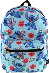 Lilo and Stitch 16 Inch Allover Print Laptop Backpack (Aqua)