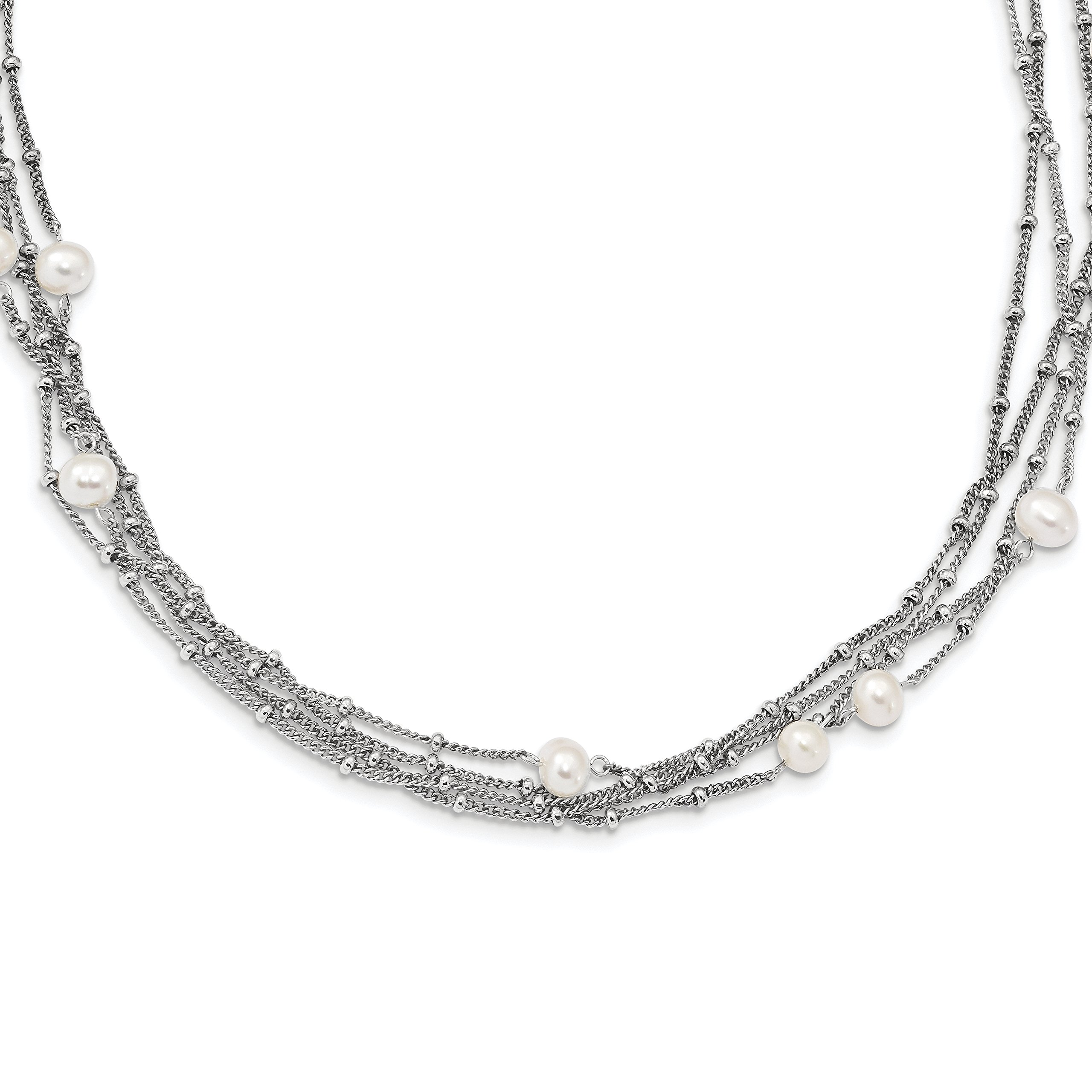 ICE CARATS 925 Sterling Silver Rh 6mm Wt Freshwater Cultured Pearl Bead Multi Strand Chain Necklace Station