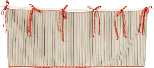 Cotton Tale Designs 100 Cotton Scribbles Multi Colored Stripe with Orange Cream Polka Dot Trim Ties Straight Valance Window Treatment
