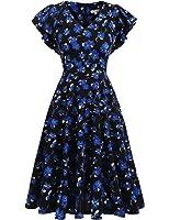 Meaneor Womens V-neck A Line Swing Dress Summer Vintage Floral Flutter Short Sleeves