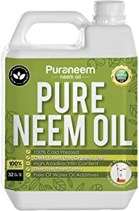 PetraTools Neem Oil, Cold Pressed, High Azadirachtin Content, Essential Oil for Skin, Hair and Nails, Leaf Polish, OMRI Listed (32 Fl Oz)