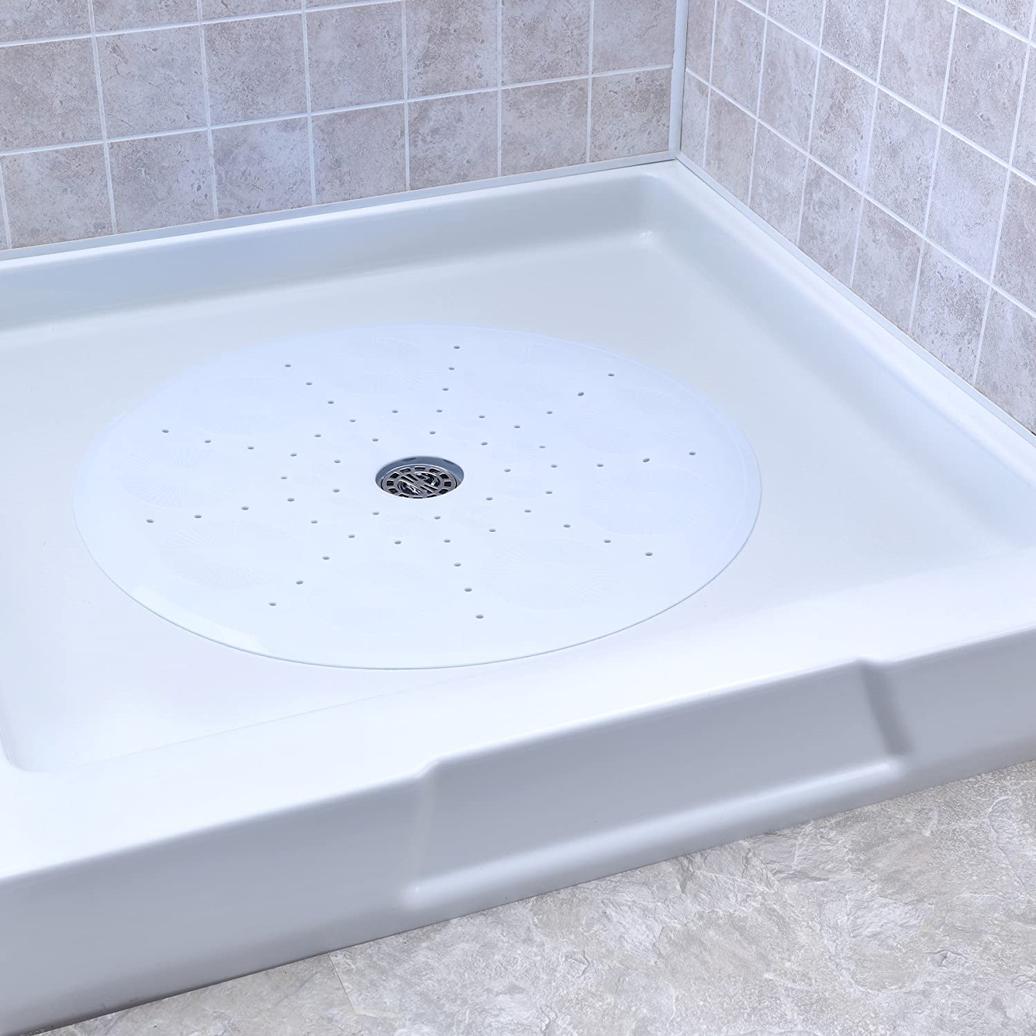 Amazon.com: SlipX Solutions White Round Shower Stall Mat Provides ...