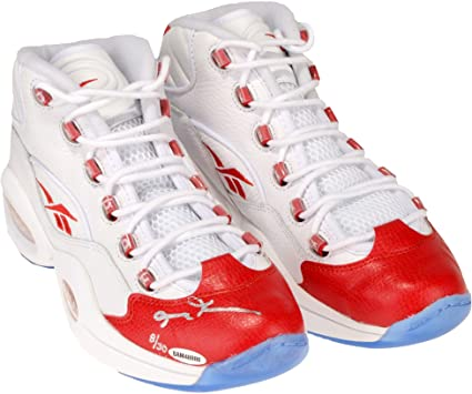 b89649095098 Allen Iverson Philadelphia 76ers Autographed White   Red Reebok Question  Sneakers - Limited Edition of 30