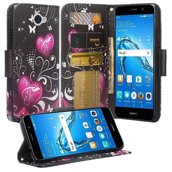 huge selection of 5d27b 631a2 Huawei Ascend XT2 H1711 Case, SOGA [Pocketbook Series] PU Leather Magnetic  Flip Wallet Case for Huawei Ascend Xt2 H1711, Huawei Elate 4g - Black Heart  ...