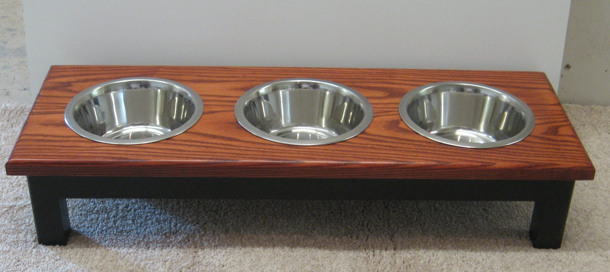 Classic Pet Beds 3-Bowl Traditional Style Ash Pet Diner, Small, Espresso/Cherry