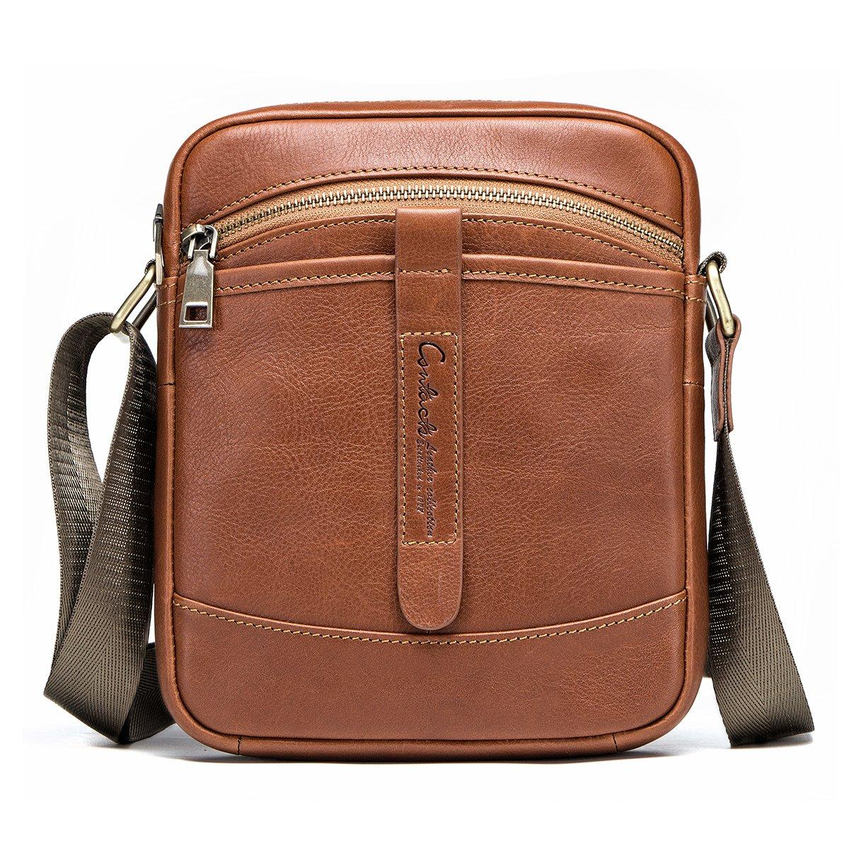 Amazon.com   Contacts Genuine Leather Mens iPad Mini Tab Messenger CrossBody  Tote Bag (Brown)   Messenger Bags 54d4e264f5