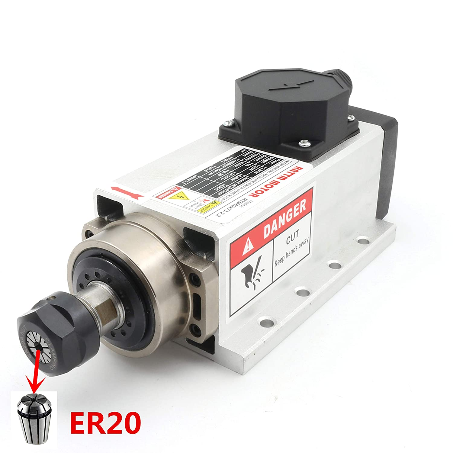 TOP FOUR BEARING ER20 4KW AIR COOLED SPINDLE MOTOR ENGRAVING MILLING GRINDING