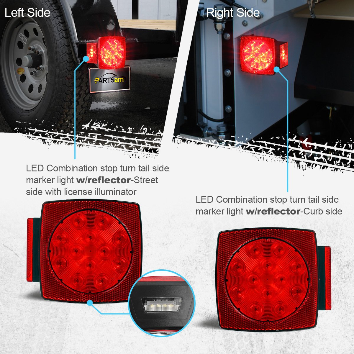 Partsam 12v Submersible Square Led Trailer Lightred Flat Four Pole Wiring Connection Kit Utility Brake Light Turn White Stop Tail License Running Lamp For Trailers Under 80 Boat
