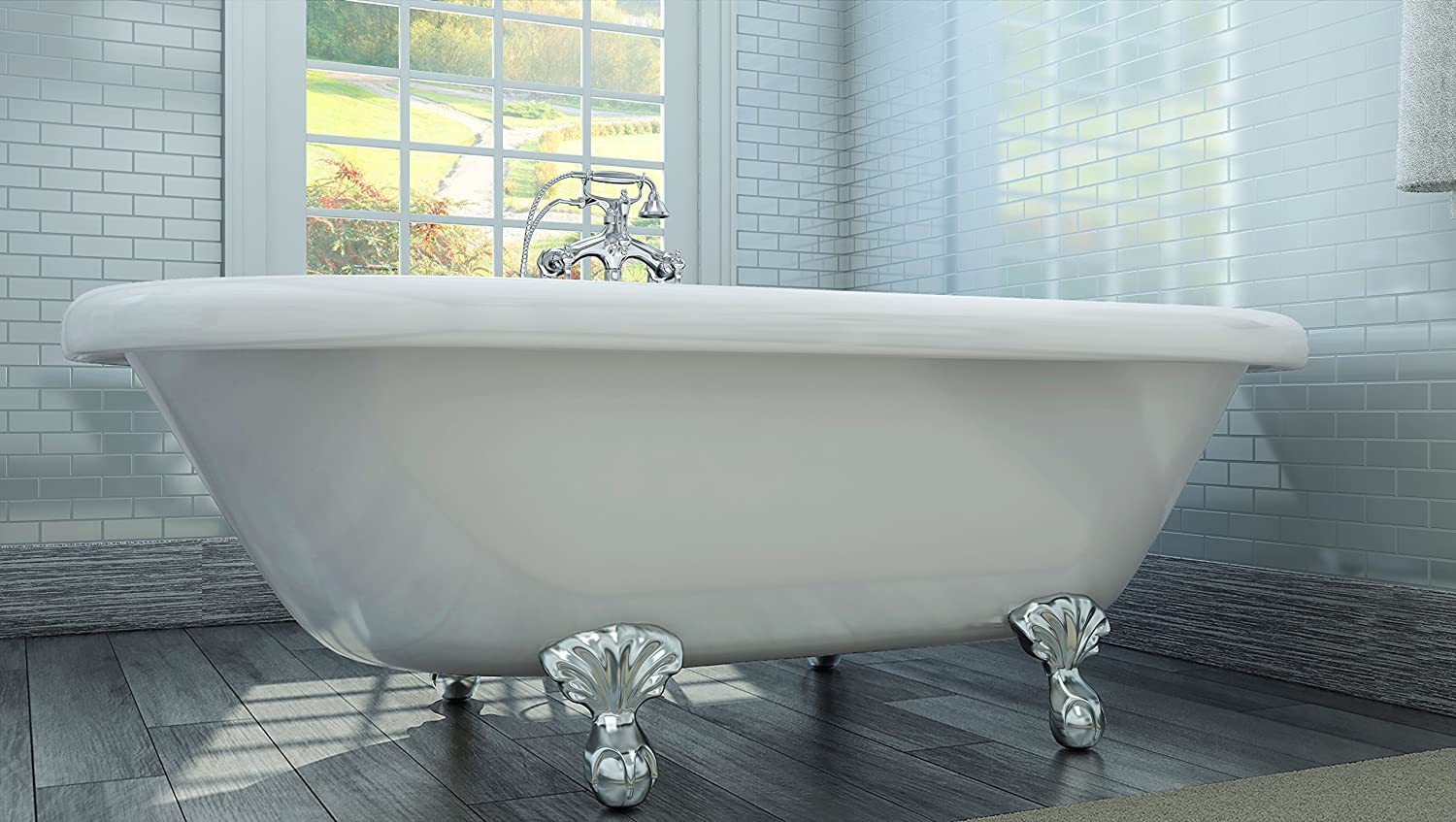 Luxury 72 inch Large Clawfoot Tub with Vintage Tub Design in White ...