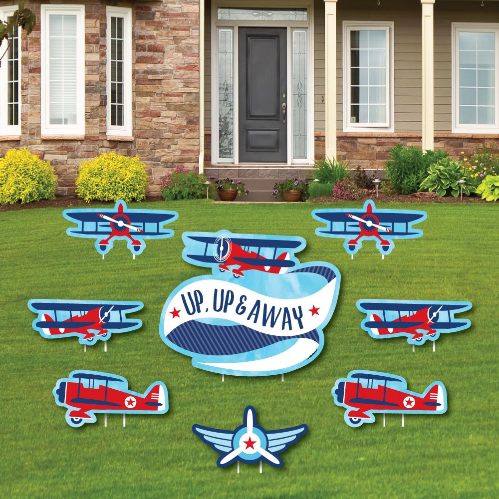 Big Dot of Happiness Taking Flight - Airplane - Yard Sign & Outdoor Lawn Decorations - Vintage Plane Baby Shower or Birthday Party Yard Signs - Set of 8
