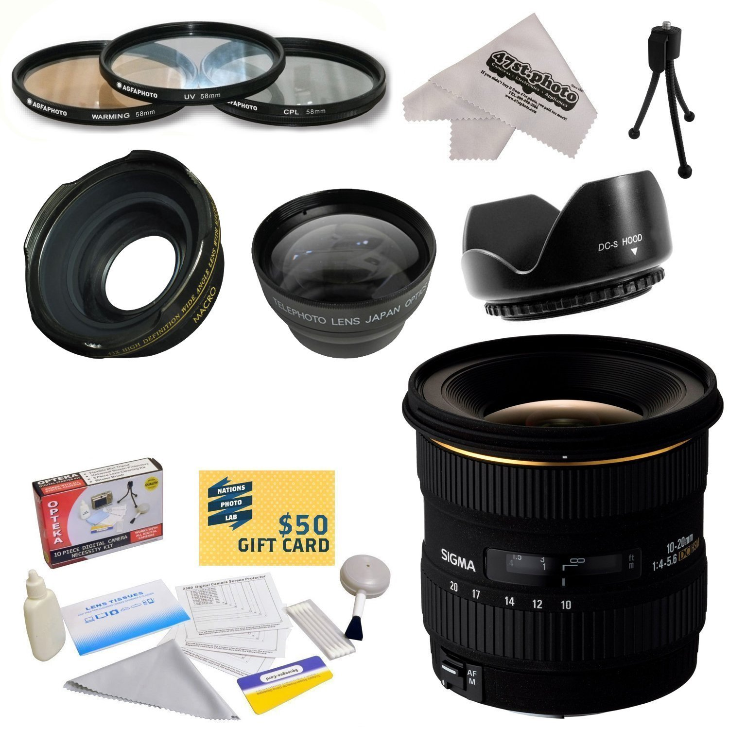 Sigma 10-20mm f/4-5.6 EX DC HSM Autofocus Lens For The Nikon D1 D1X D1H D2X D2Xs D2H D2Hs D3 D3X D3s D100 D200 D300 D300S D700 D7000 D7100 D3000 D3100 D3200 D5000 D5100 D5200 D5300 D40 D40X D50 D60 D70 D90 D80 DSLR Cameras Includes 3 Year Extended Lens Wa