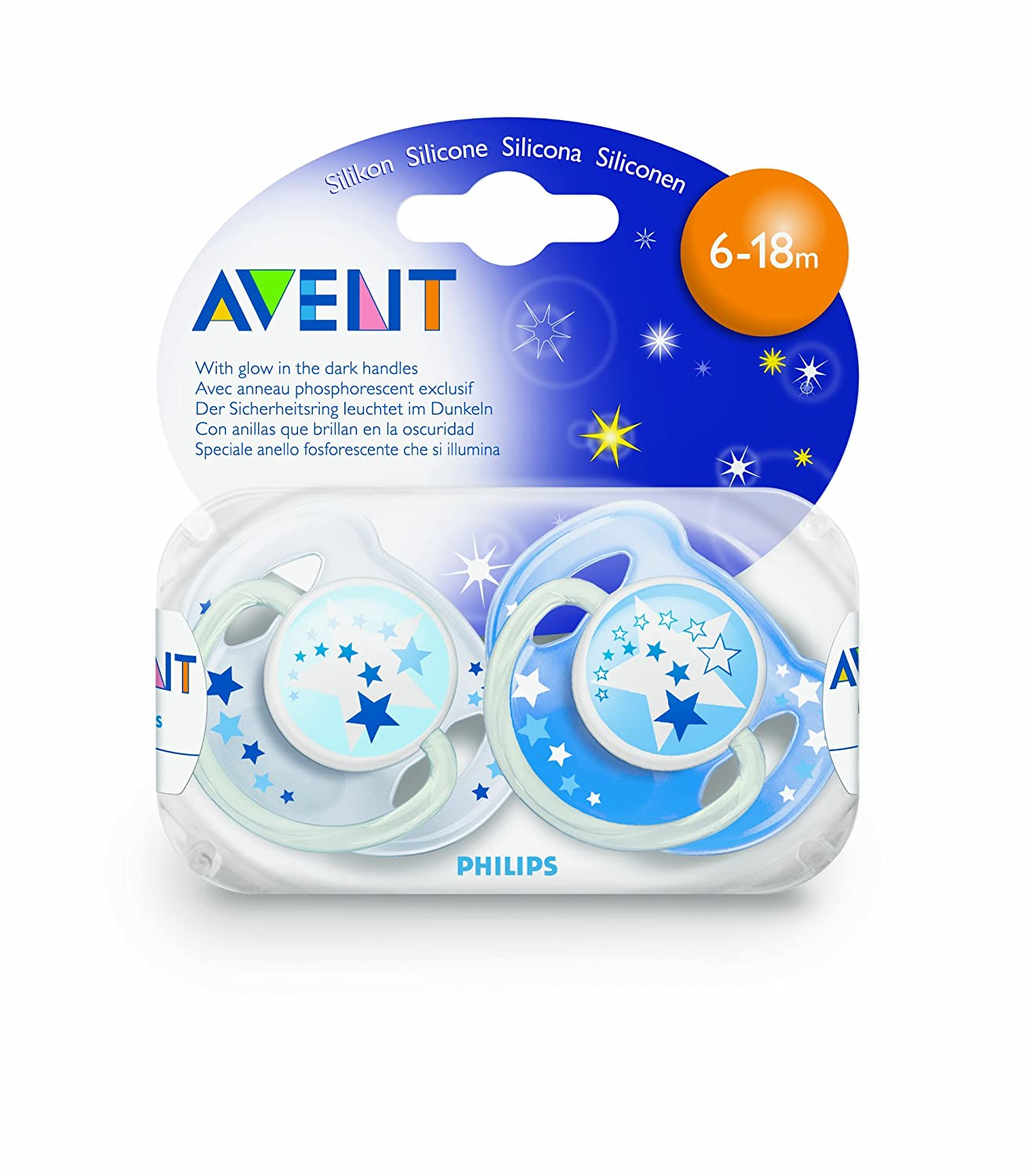 SCF176//22 Philips Avent Night-Time Soothers 6-18m 1 PACK, 2 SOOTHERS