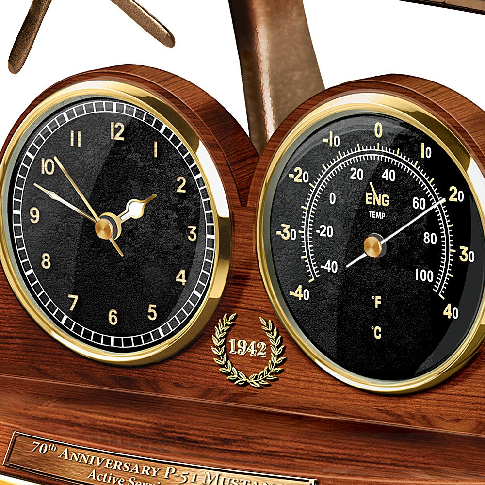 Amazon.com: Tabletop Clock: P 51 Mustang 70th Anniversary Thermometer Tabletop  Clock By The Bradford Exchange: Home U0026 Kitchen