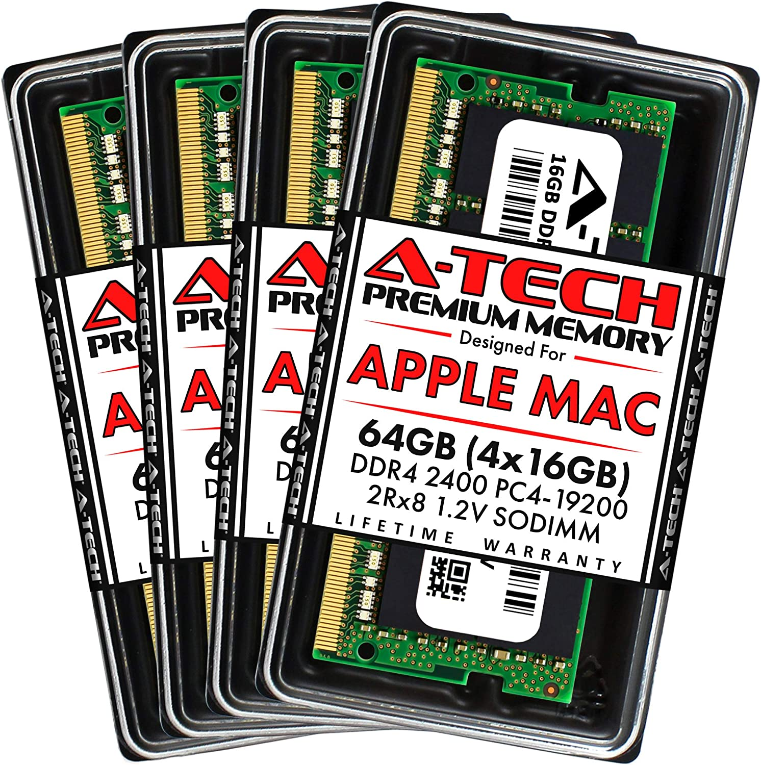 A-Tech 64GB (4x16GB) RAM for Apple 2017 iMac 27 inch Retina 5K | DDR4 2400MHz PC4-19200 SO-DIMM 260-Pin CL17 1.2V Non-ECC Unbuffered Memory Upgrade Kit