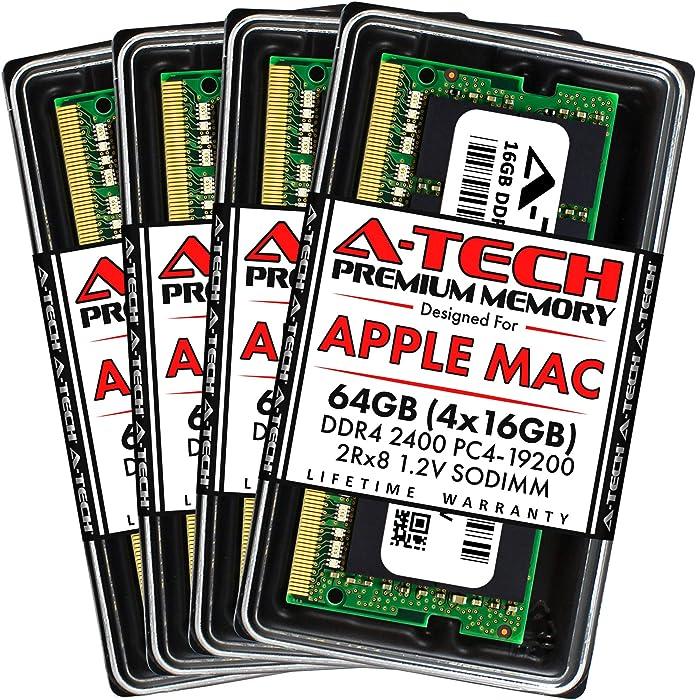 A-Tech 64GB (4x16GB) RAM for Apple 2017 iMac 27 inch Retina 5K | DDR4 2400MHz PC4-19200 SO-DIMM 260-Pin CL17 1.2V Non-ECC Unbuffered Memory Upgrade Kit