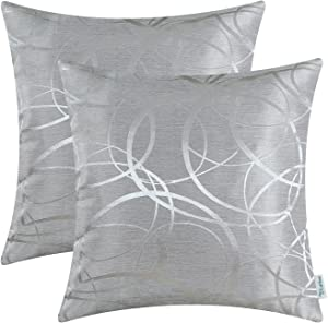 CaliTime Pack of 2 Cushion Covers Throw Pillow Cases Shells for Couch Sofa Home Decor Modern Shining & Dull Contrast Circles Rings Geometric 16 X 16 Inches Silver Gray