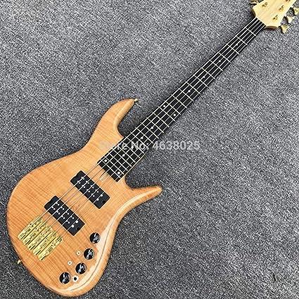 Guitarra de bajo de color natural, 24 trastes, 5 cuerdas, TF ...