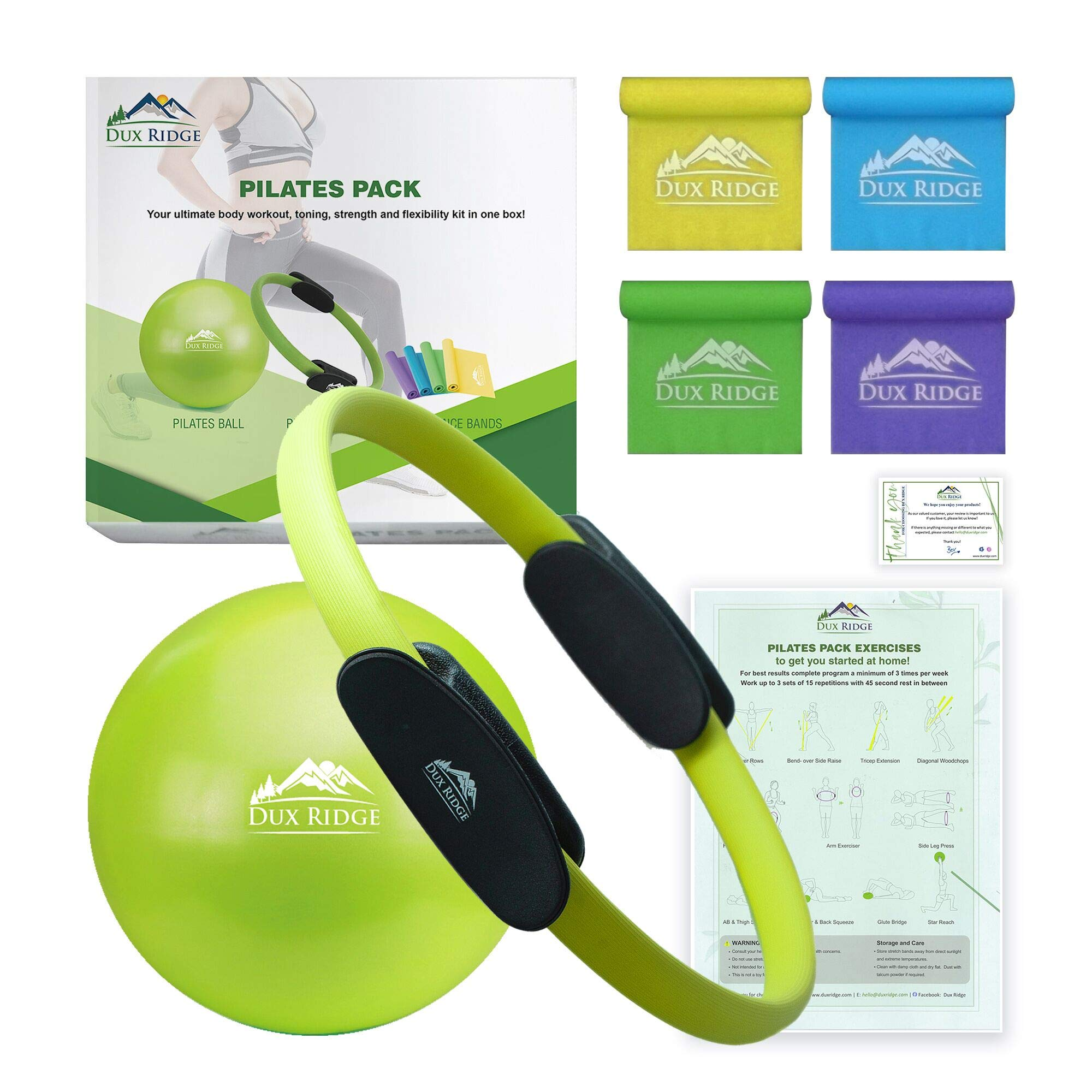 Dux Ridge Pilates Ring 12″ Magic Circle, 9″ Pilates Mini Ball, Set of 4 Resistance Bands. Total Body Workout in one Box! Pilates Yoga Barre Physical Therapy. Strength Training Without Weights.