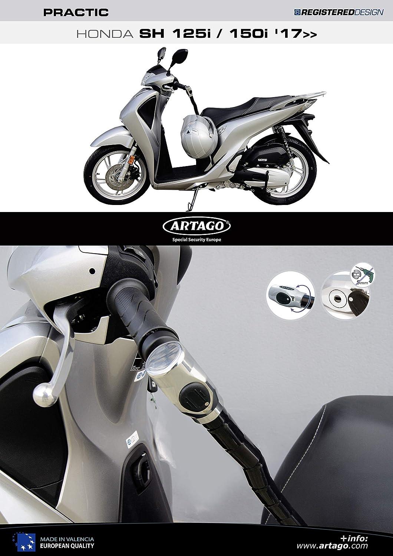 Artago 1644ART Candado Antirrobo Manillar Practic Art Alta Gama con Soporte para Honda Scoopy SH 125//150 2017 2018