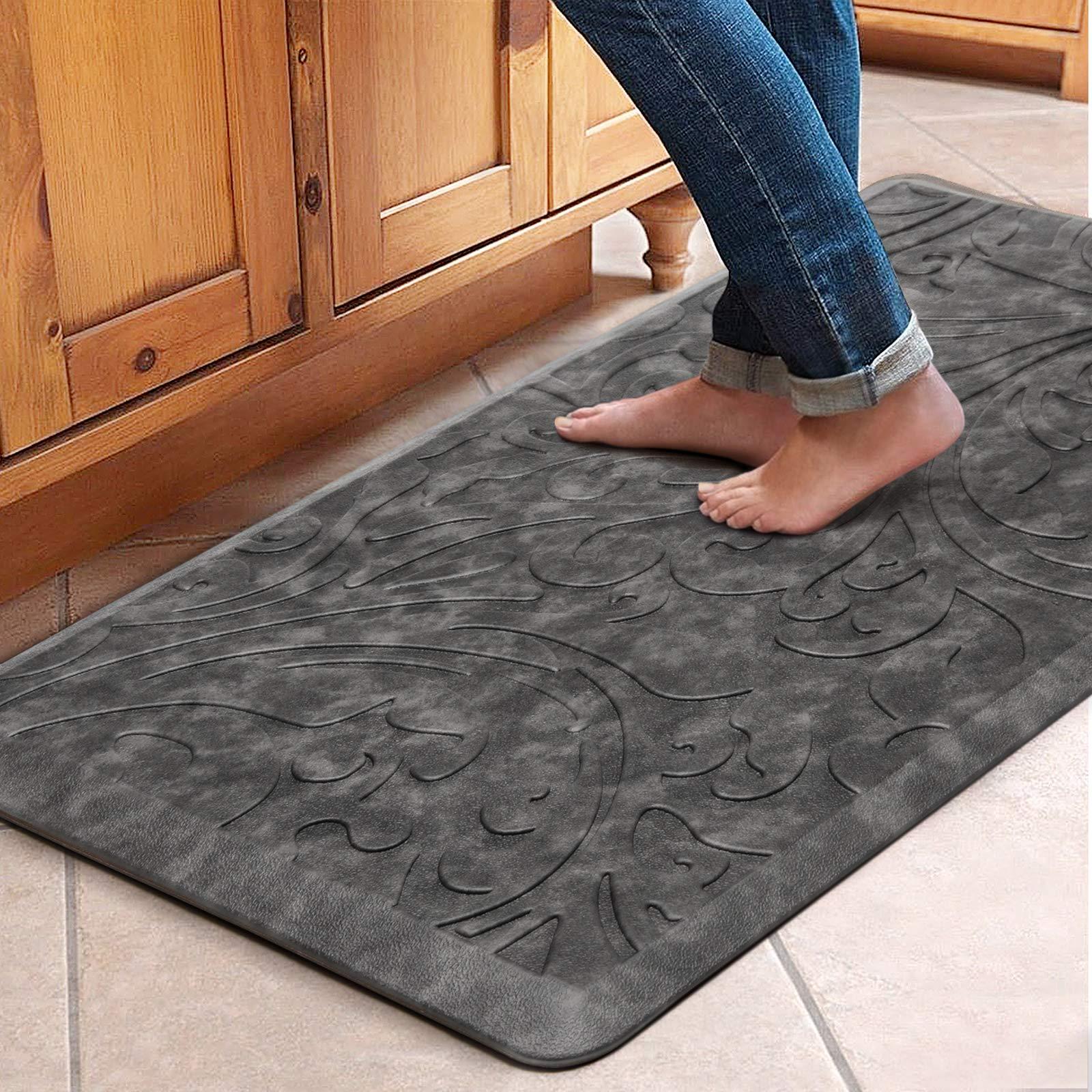 "KMAT Kitchen Mat Cushioned Anti-Fatigue Floor Mat Waterproof Non-Slip Standing Mat Ergonomic Comfort Floor Mat Rug for Home,Office,Sink,Laundry,Desk 20""(W) x 39""(L),Grey"
