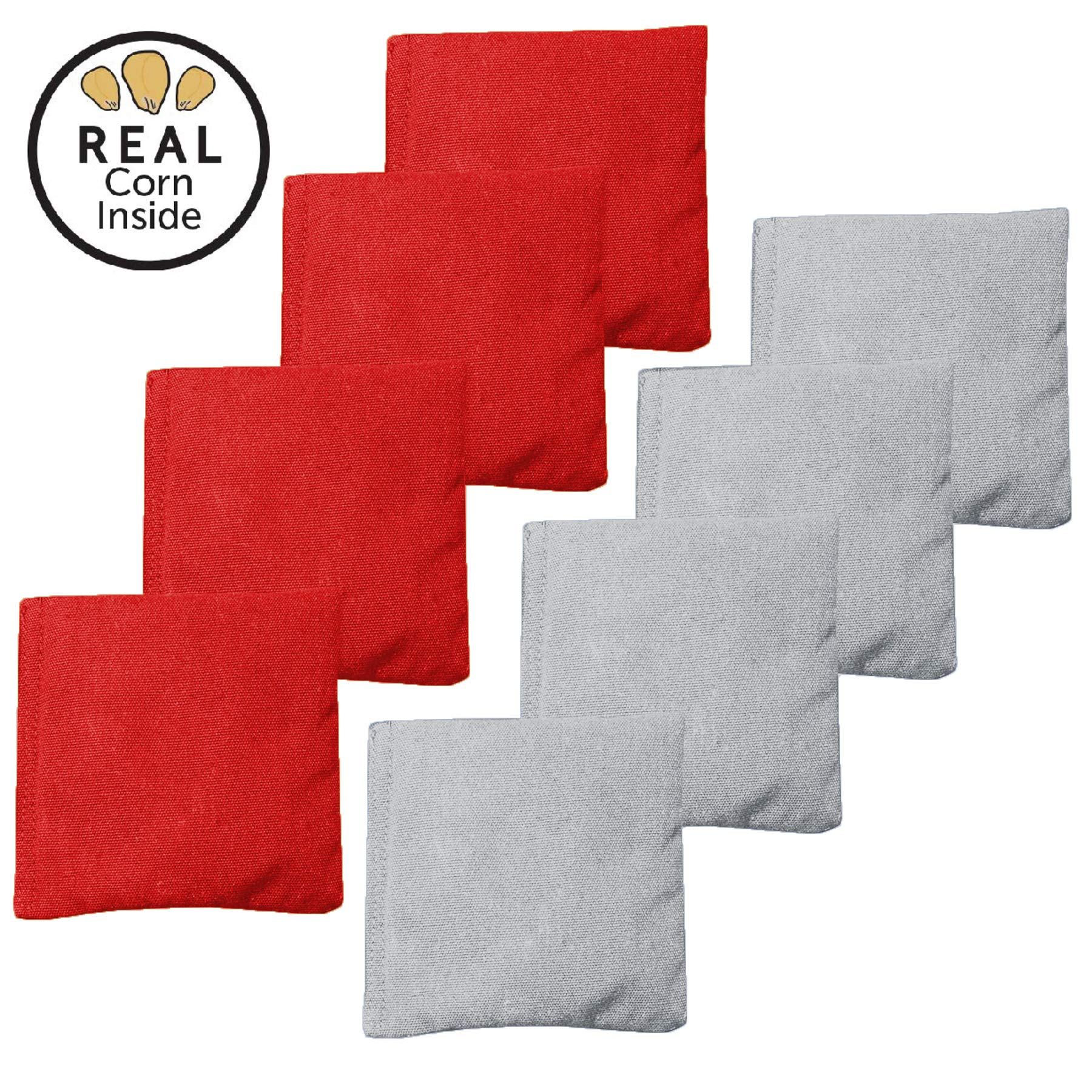Real Corn Filled Cornhole Bags - Set of 8 Bean Bags for Corn Hole Game - Regulation Size & Weight - Red and Gray