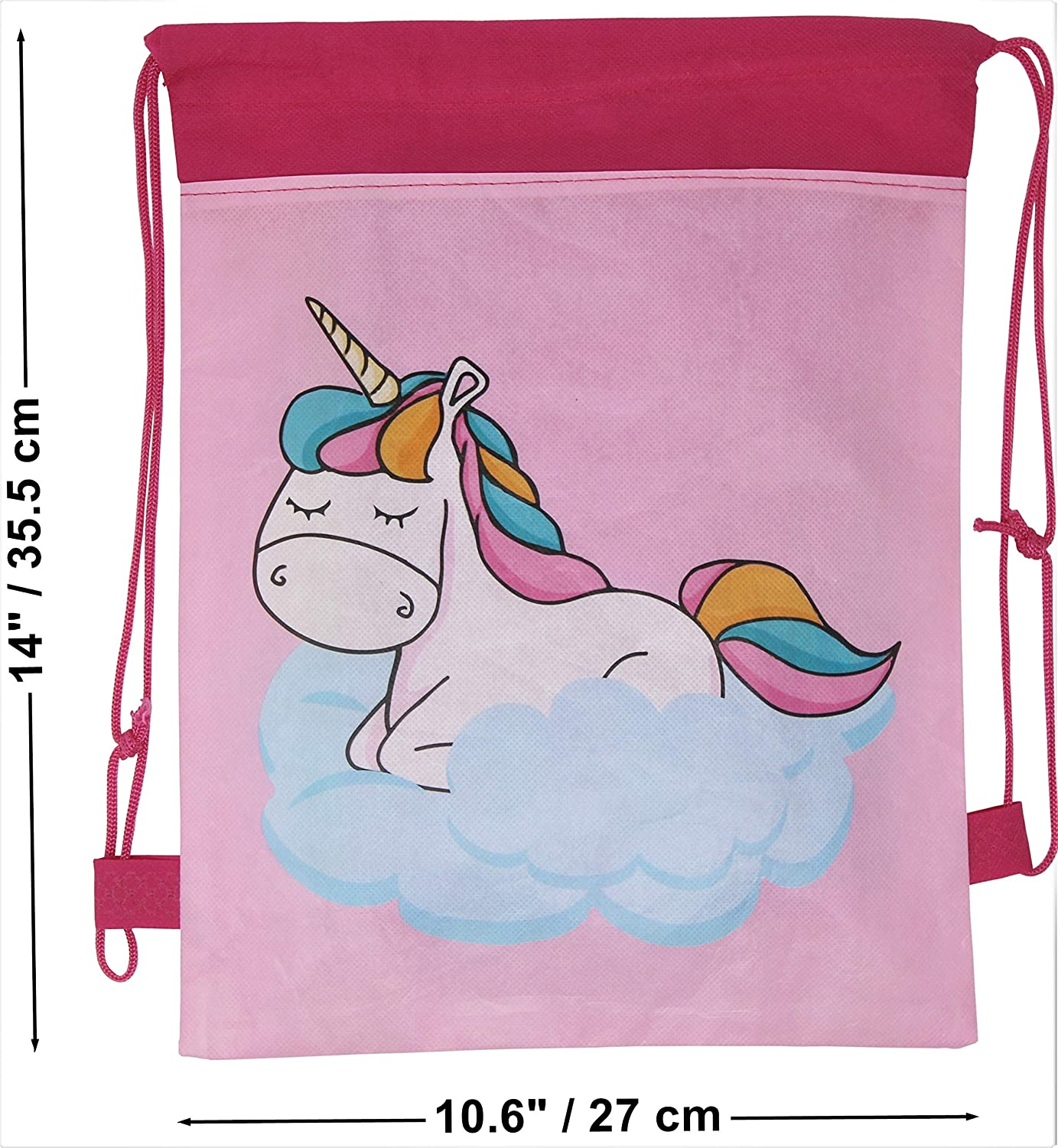 Party Favor Drawstring Loot Bags Birthday Supplies ASM Labs Unicorn Dreams