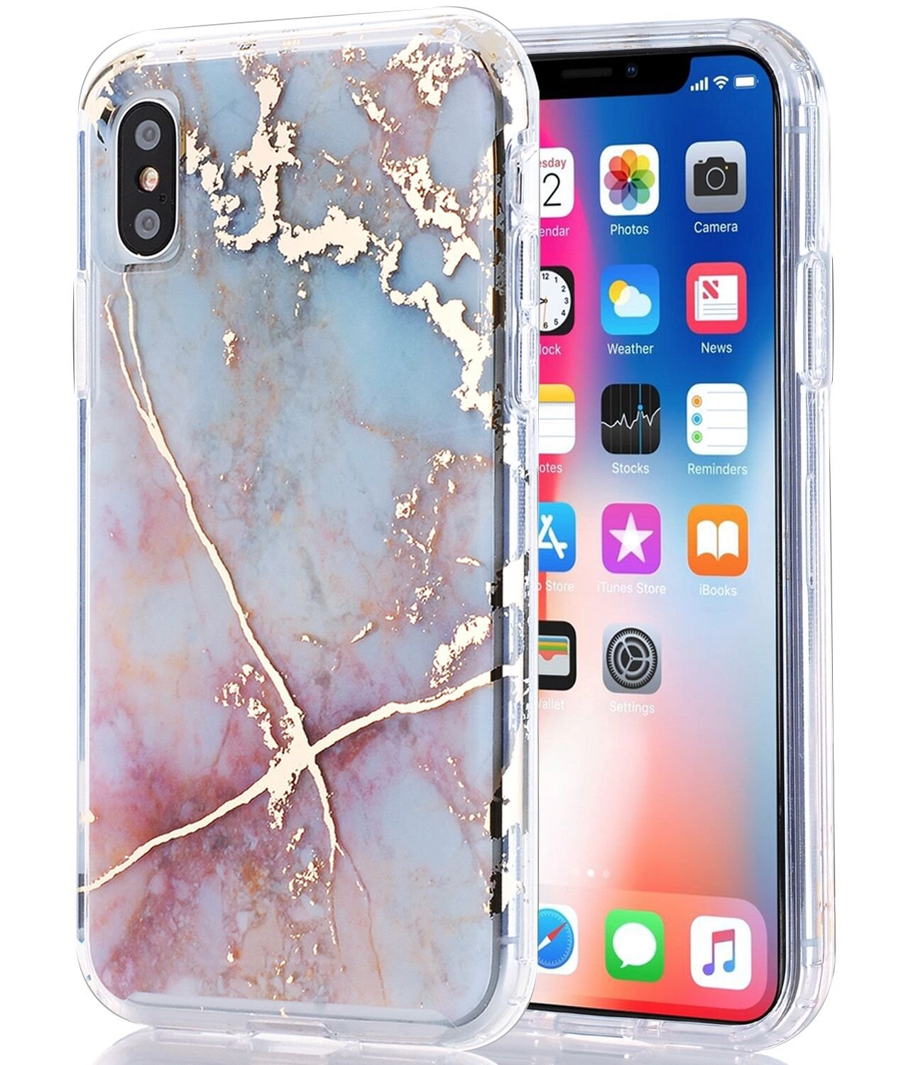 BAISRKE iPhone Xs Case, iPhone X Case Clear with Shiny Gold Marble [Fusion] Hard PC Back Soft TPU Bumper Raised Edge Drop Protection Cover for Apple iPhone X/iPhone XS 5.8''