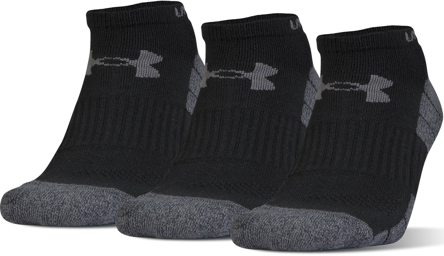 Under Armour Men's Elevated Performance No Show (3 Pack), Black Marl/Graphite, Medium by Under Armour