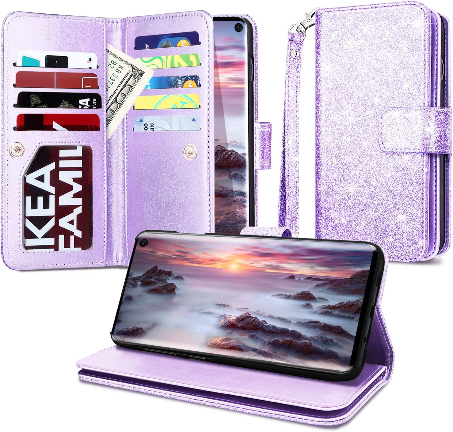 Casewind Samsung S10e Case, Samsung Galaxy Note S10e Wallet Case Glitter with Kickstand Magnetic Closure Card Slot Holder Full-Body Protective PU Leather Flip Cover Galaxy S10e Case for Girls,Purple