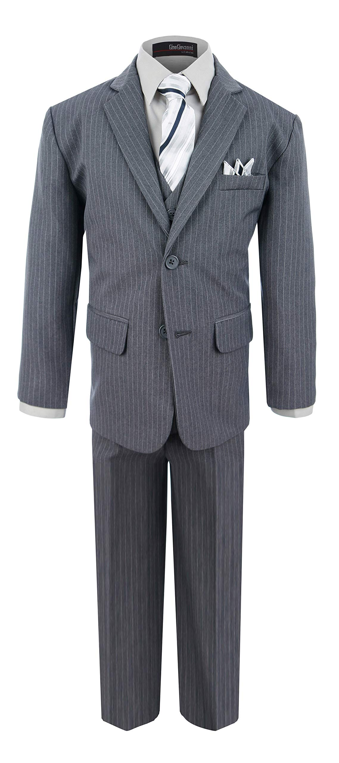 Boy's Formal Pinstripe Dresswear Suit Set #G220 (10, Gray)