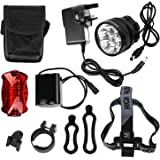 Cree Bike Lights Bicycle Headlight LED Headlamp DDbest 10000Lumen 7x CREE XML T6 LED Headlight Cycling Riding Hiking Camping Headlamp With 6x18650 (10800Mah) Rechargeable Battery Pack and Rear Light