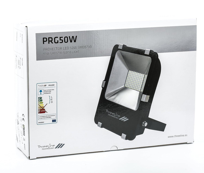 Threeline PRG Proyector Foco LED, 50 W, Blanco Frío