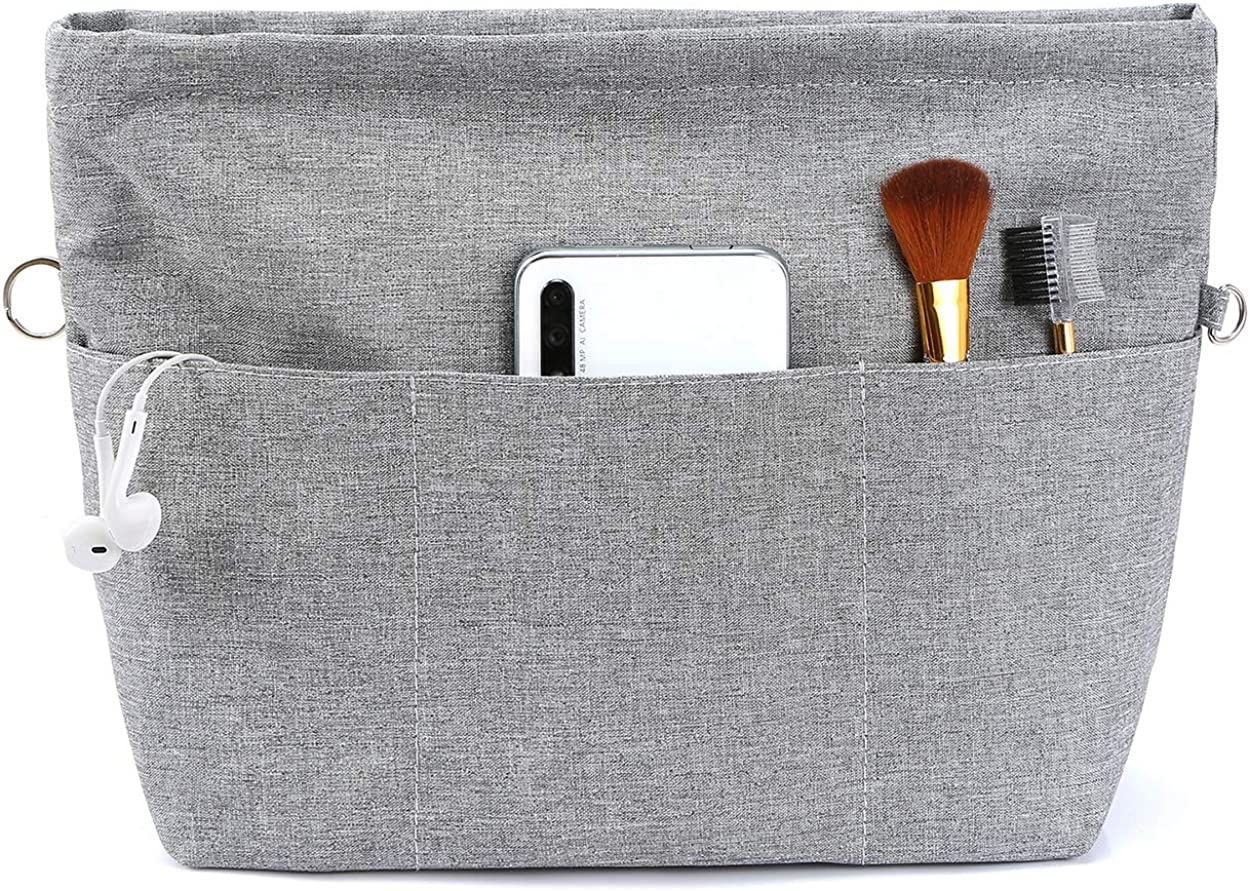 VANCORE Purse Bag Organizer Insert with 13 Pockets, Handbag and Tote Bag Inside Shaper with Zipper (Grey, XSmall)