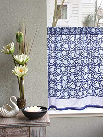 Saffron Marigold Floral Blue Kitchen Curtains Midnight Lotus Hand Printed Cobalt Blue Azul Asian Oriental Tier Curtain Semi Sheer Ethereal Cotton Voile Cafe Curtain Valance 46 x 36