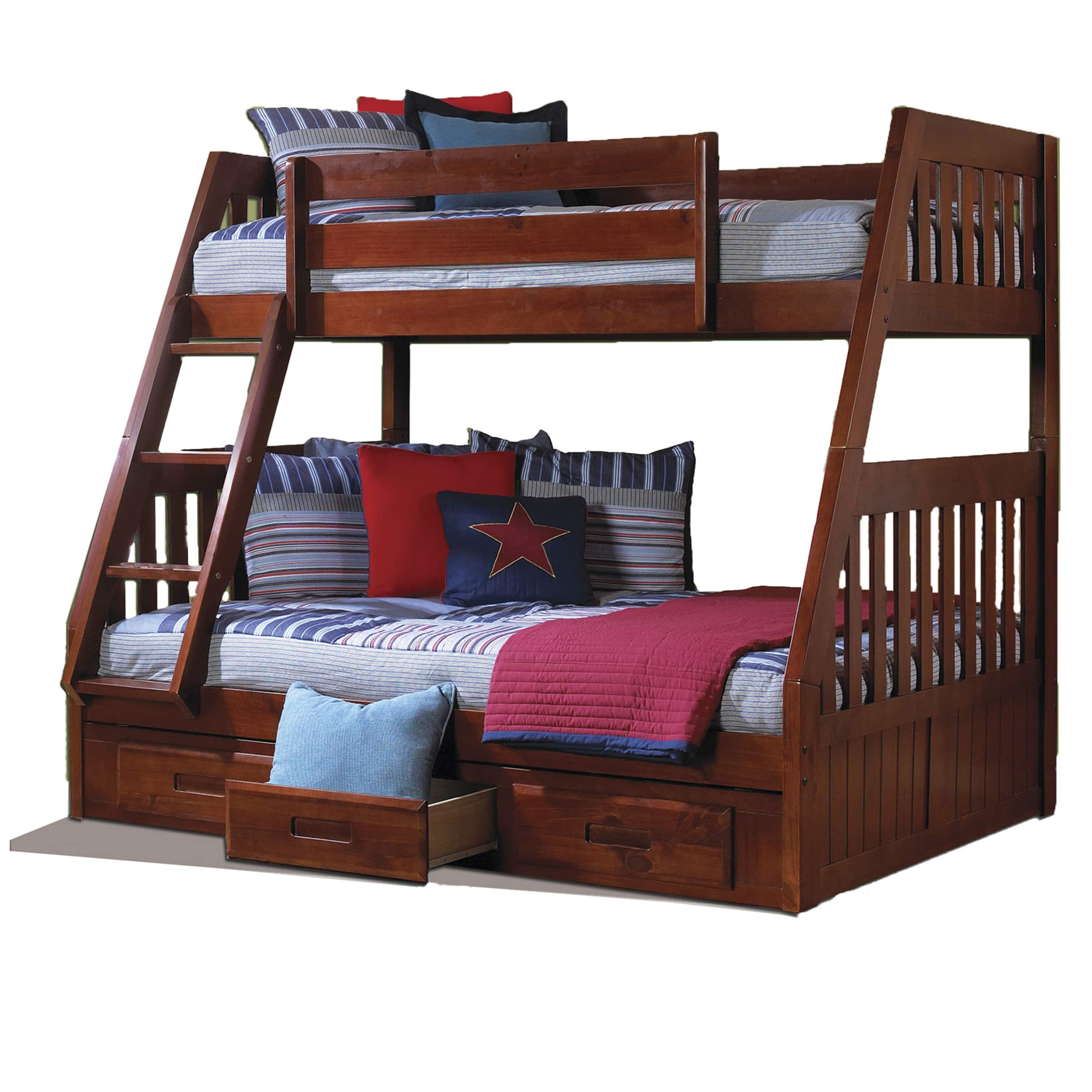 American Furniture Classics Merlot Solid Pine Twin-over-full 3-drawer Bunk Bed with Desk